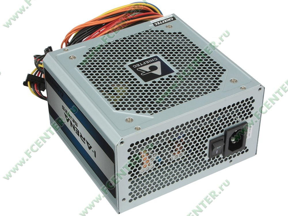 "Блок питания 500Вт Chieftec ""iArena GPC-500S"" ATX12V V2.3. Вид спереди."