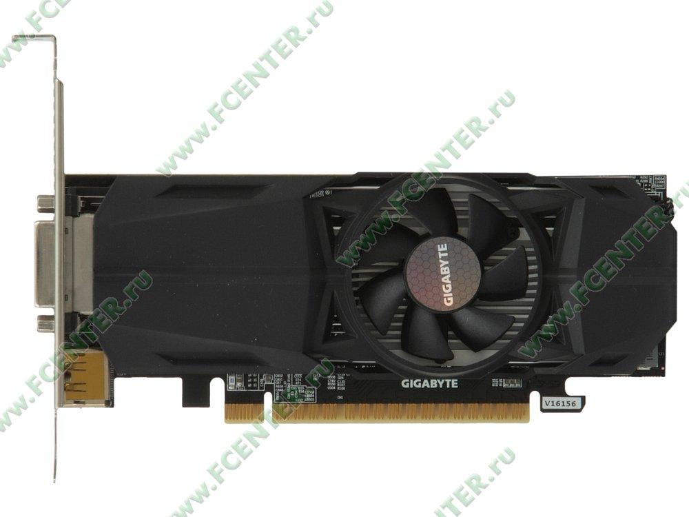 "Видеокарта GIGABYTE ""GeForce GTX 1050 Ti OC Low Profile 4G 4ГБ"". Вид сверху."