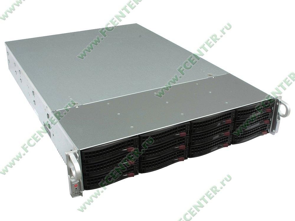 "Серверный корпус Supermicro ""CSE-826BE1C-R920LPB"" (2x920Вт). Вид спереди 1."