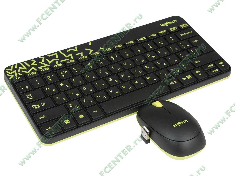 "Комплект клавиатура + мышь Logitech ""MK240 Nano"" (USB). Вид спереди 1."