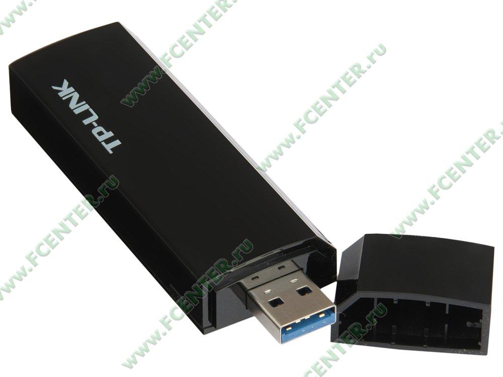 "Сетевой адаптер Wi-Fi 867Мбит/сек. TP-Link ""Archer T4U ver.2.0"" (USB3.0). Вид спереди 1."