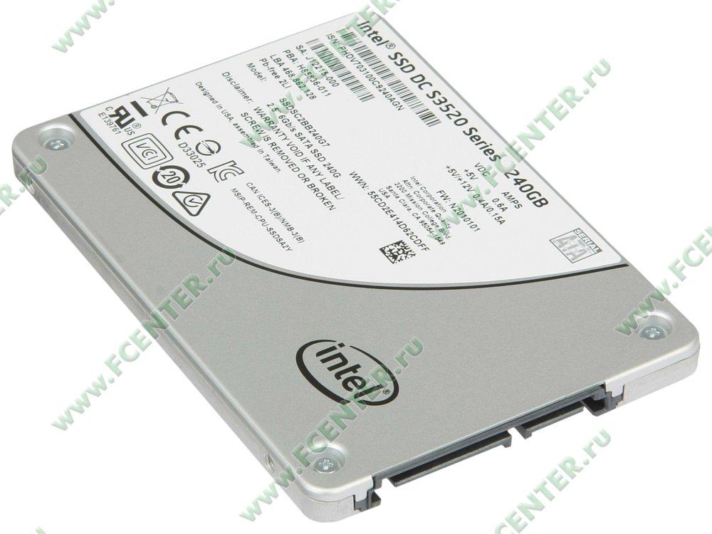 """SSD диск 240ГБ 2.5"""" Intel """"DC S3520"""" SSDSC2BB240G701 (SATA III). Вид спереди."""