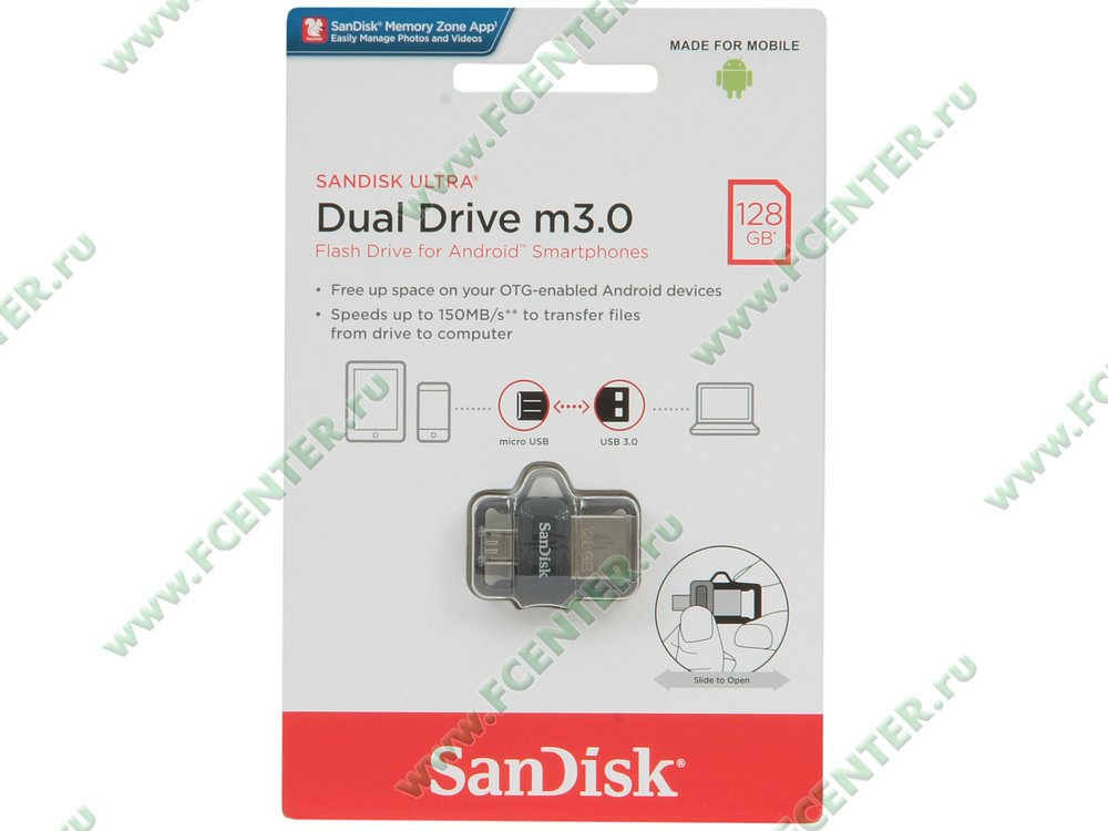 """Флеш-драйв 128ГБ SanDisk """"Dual Drive m3.0"""" (USB3.0)"""