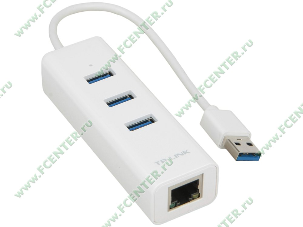 """Сетевой адаптер Ethernet 1Гбит/сек. TP-Link """"UE330"""" (USB3.0). Вид спереди."""