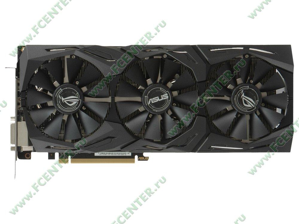 "Видеокарта ASUS ""GeForce GTX 1080 Ti 11ГБ"" ROG-STRIX-GTX1080TI-O11G-GAMING. Вид сверху."