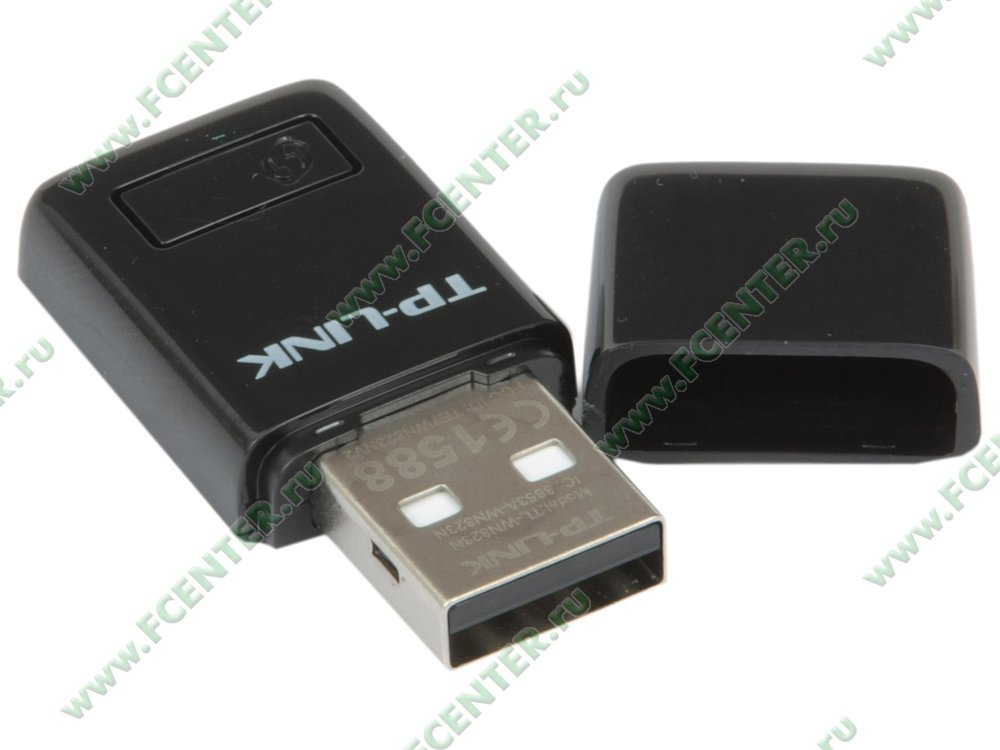 """Сетевой адаптер Wi-Fi 300Мбит/сек. TP-Link """"TL-WN823N ver.2.0"""" (USB2.0). Вид спереди."""