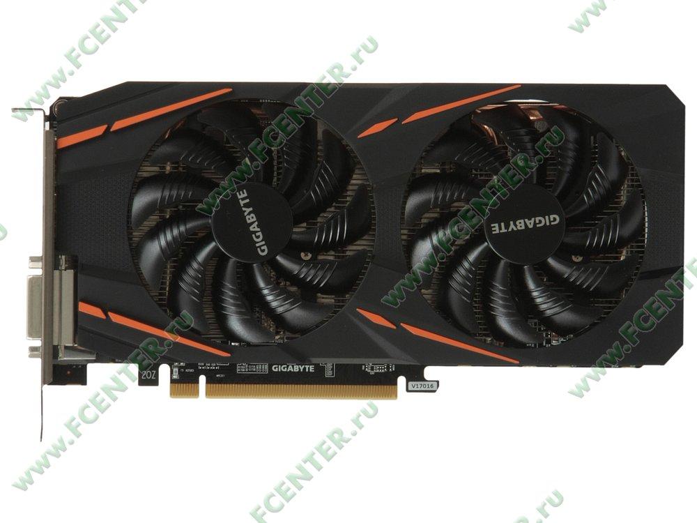 "Видеокарта GIGABYTE ""Radeon RX 570 GAMING 4G 4ГБ"" GV-RX570GAMING-4GD. Вид сверху."