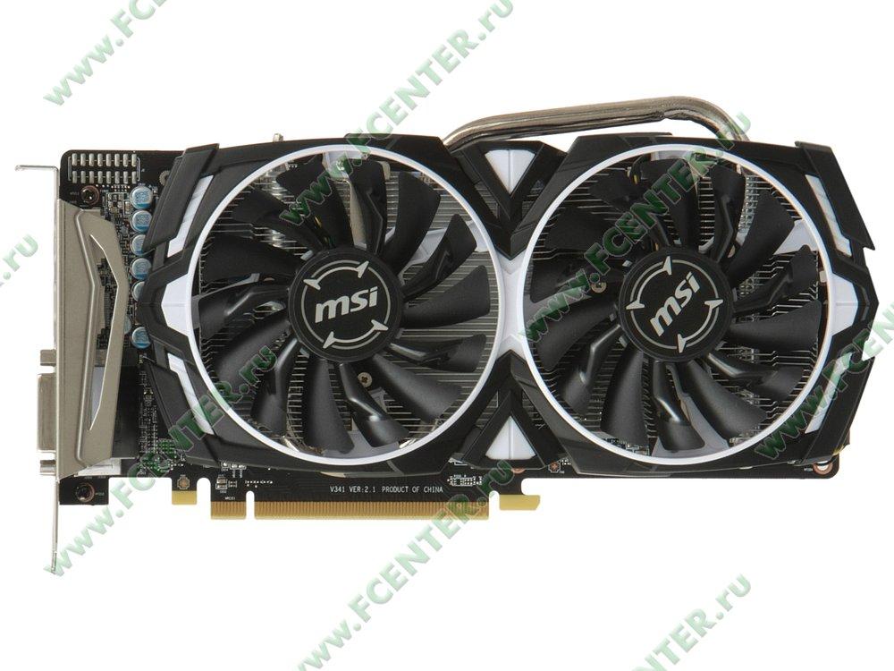 """Видеокарта MSI """"Radeon RX 570 ARMOR 4G OC 4ГБ"""". Вид сверху."""