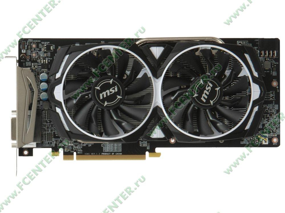 """Видеокарта MSI """"Radeon RX 580 ARMOR 8G OC 8ГБ"""". Вид сверху."""
