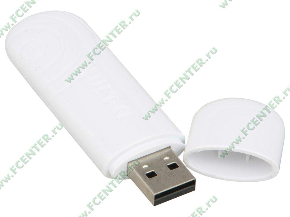 """Сетевой адаптер Wi-Fi 300Мбит/сек. D-Link """"DWA-160/RU/C1B"""" (USB2.0). Вид спереди."""