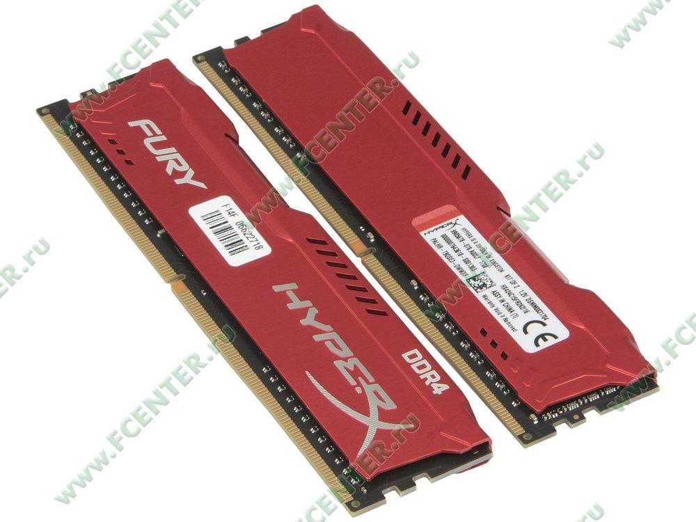 """Модуль оперативной памяти 2x8ГБ DDR4 Kingston """"HyperX FURY"""" (PC19200, CL15). Вид спереди."""
