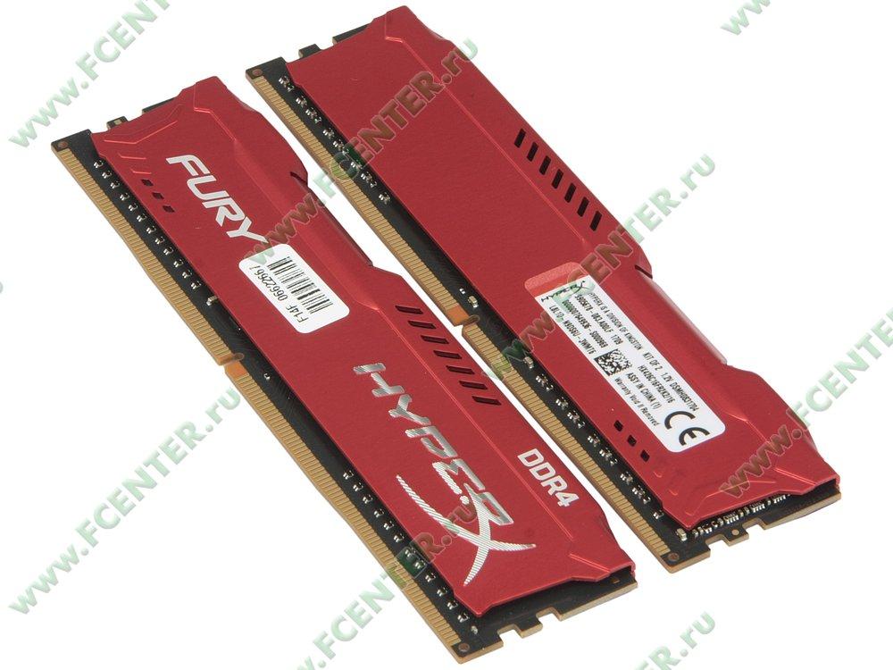 """Модуль оперативной памяти 2x8ГБ DDR4 Kingston """"HyperX FURY"""" (PC21300, CL16). Вид спереди."""