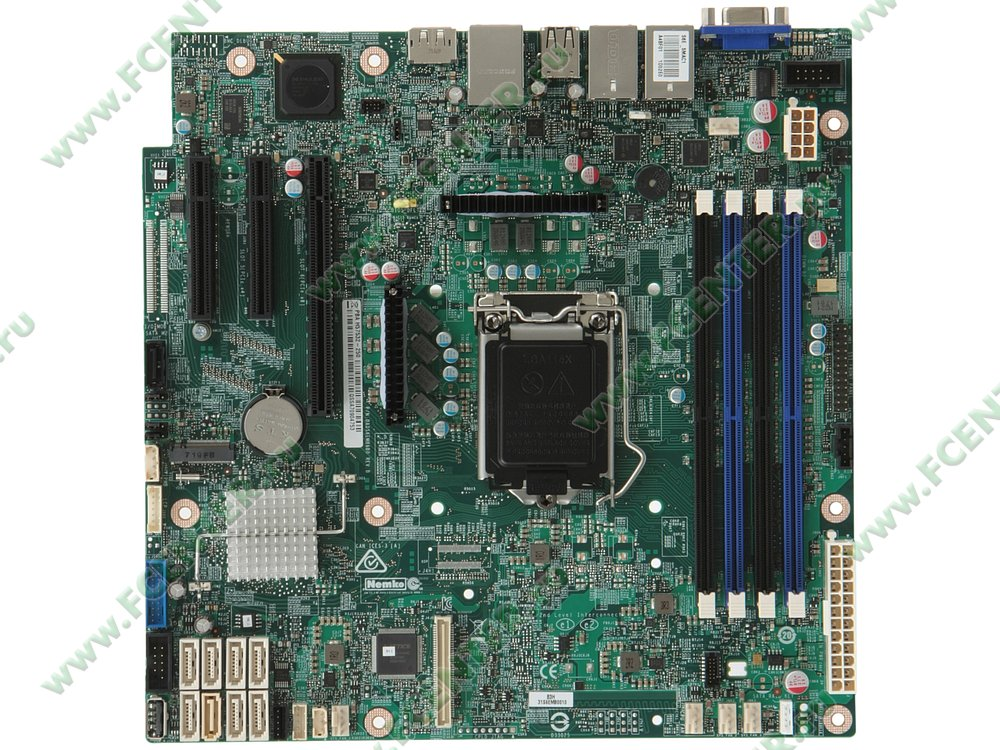"""Серверная материнская плата Intel """"DBS1200SPLR"""". Вид сверху."""