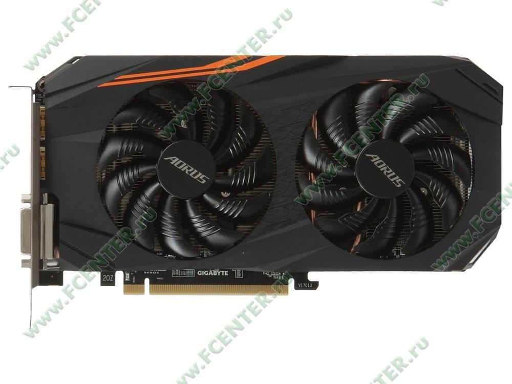 "Видеокарта GIGABYTE ""Radeon RX 580 AORUS 8G 8ГБ"" GV-RX580AORUS-8GD. Вид сверху."
