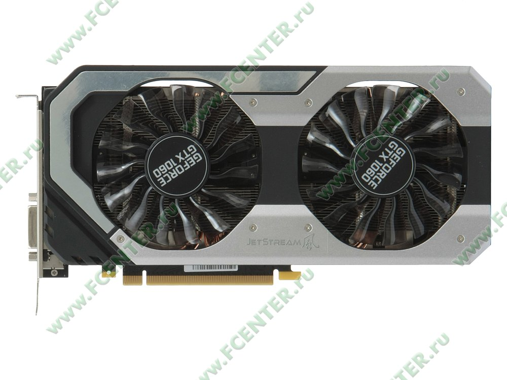 "Видеокарта Palit ""GeForce GTX 1060 JetStream 3ГБ"". Вид сверху."