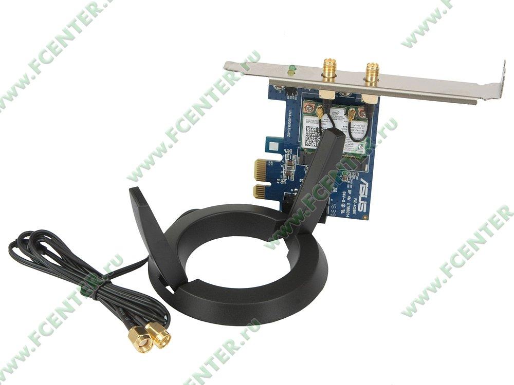 """Сетевая карта Wi-Fi 867Мбит/сек. + Bluetooth ASUS """"PCE-AC55BT"""" (PCI-E x1). Вид спереди 1."""