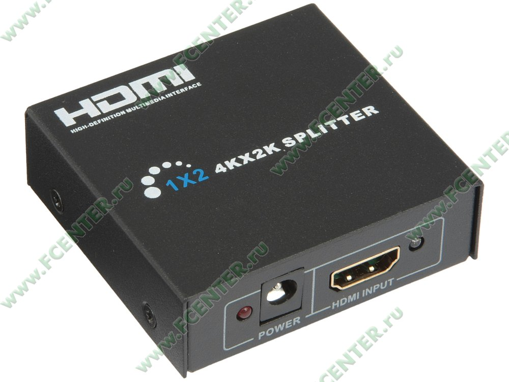 """Разветвитель 2 порта HDMI ORIENT """"HSP0102HN"""". Вид спереди."""