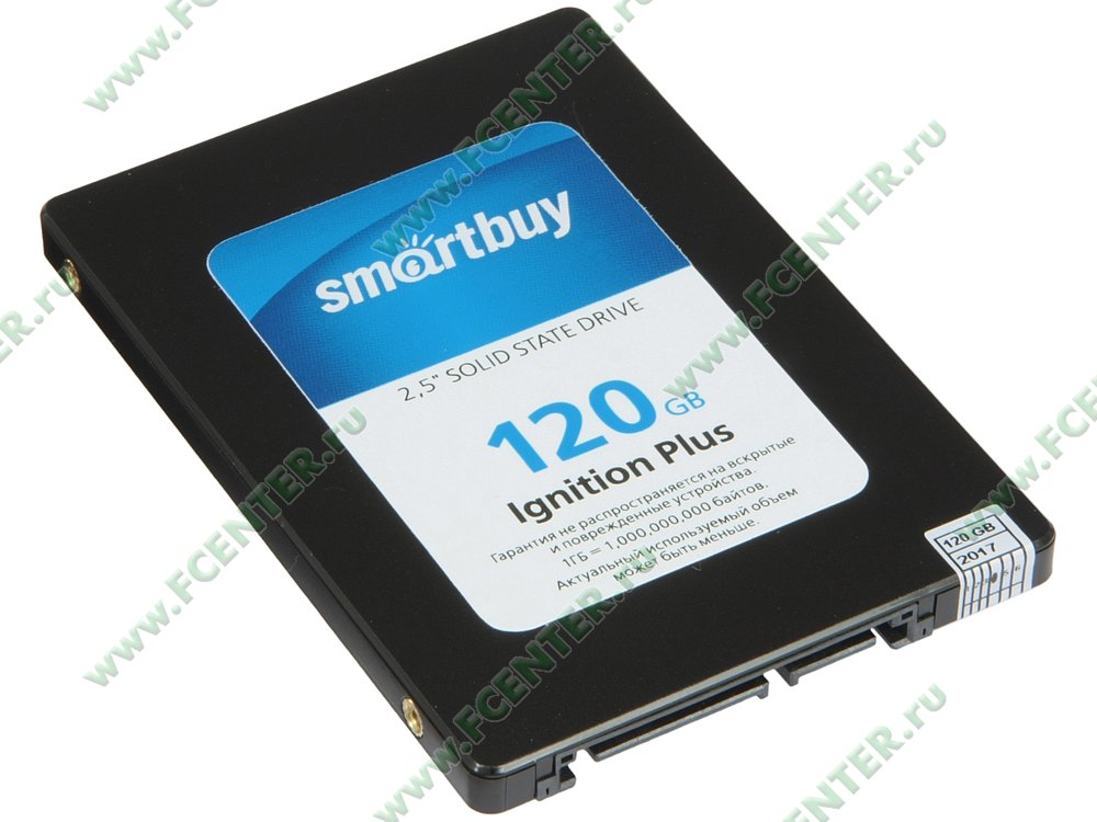 "SSD диск 120ГБ 2.5"" SmartBuy ""Ignition Plus"" (SATA III). Вид спереди."
