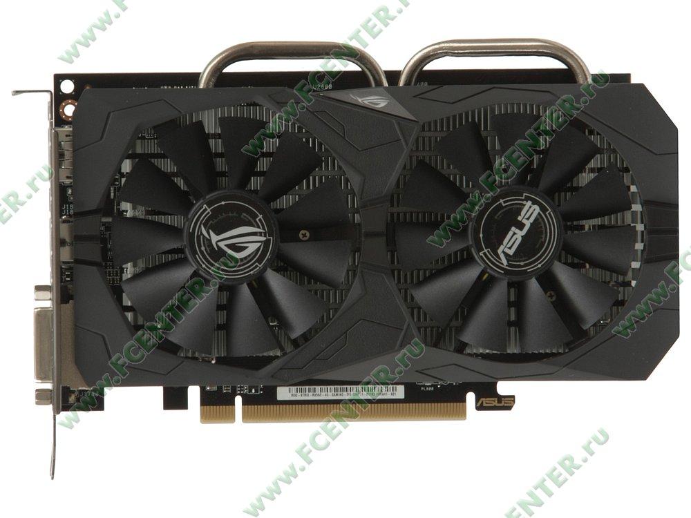"""Видеокарта ASUS """"Radeon RX 560 4ГБ"""" ROG-STRIX-RX560-4G-GAMING. Вид сверху."""