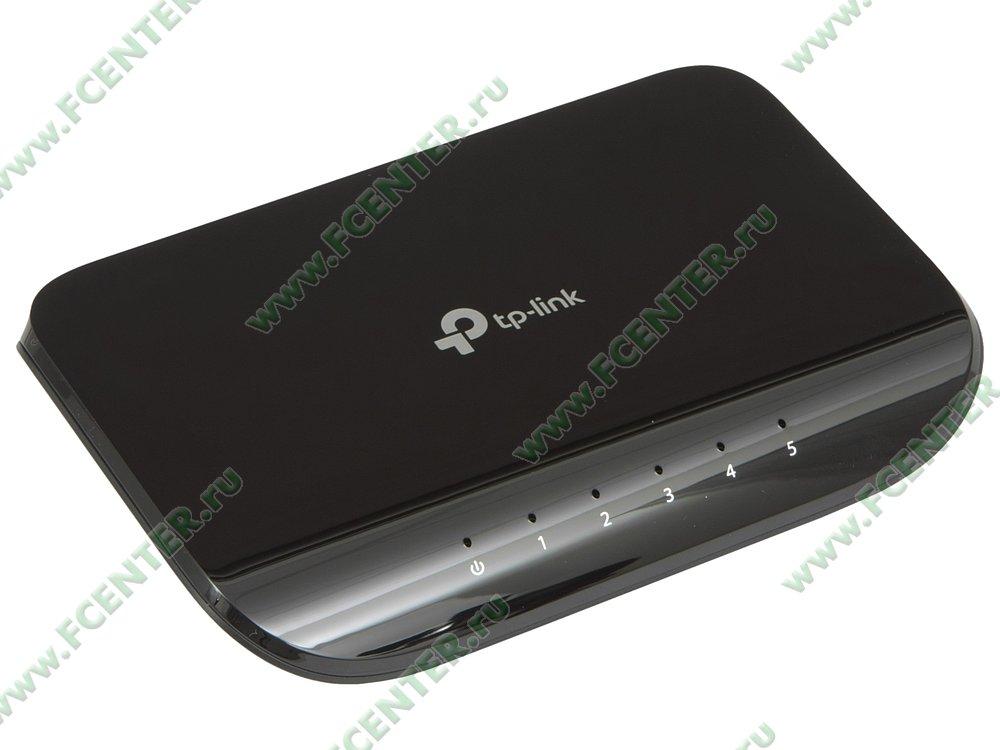 """Коммутатор TP-Link """"TL-SG1005D ver.7.0"""" 5 портов 1Гбит/сек.. Вид спереди."""