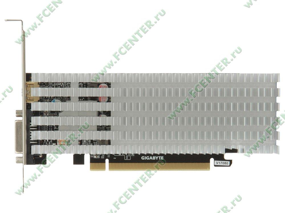 "Видеокарта GIGABYTE ""GeForce GT 1030 Silent Low Profile 2G 2ГБ"". Вид сверху."