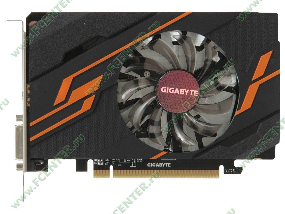 "Видеокарта GIGABYTE ""GeForce GT 1030 OC 2G 2ГБ"" GV-N1030OC-2GI. Вид сверху."