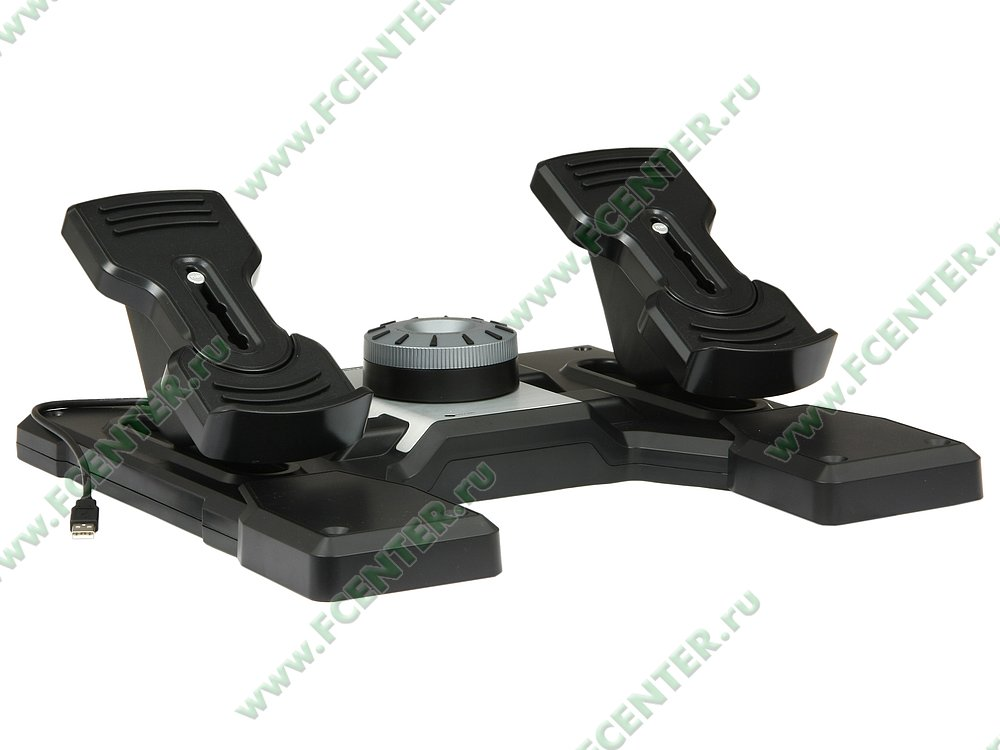 "null Logitech Saitek ""Pro Flight Rudder Pedals"" (USB). Вид спереди."