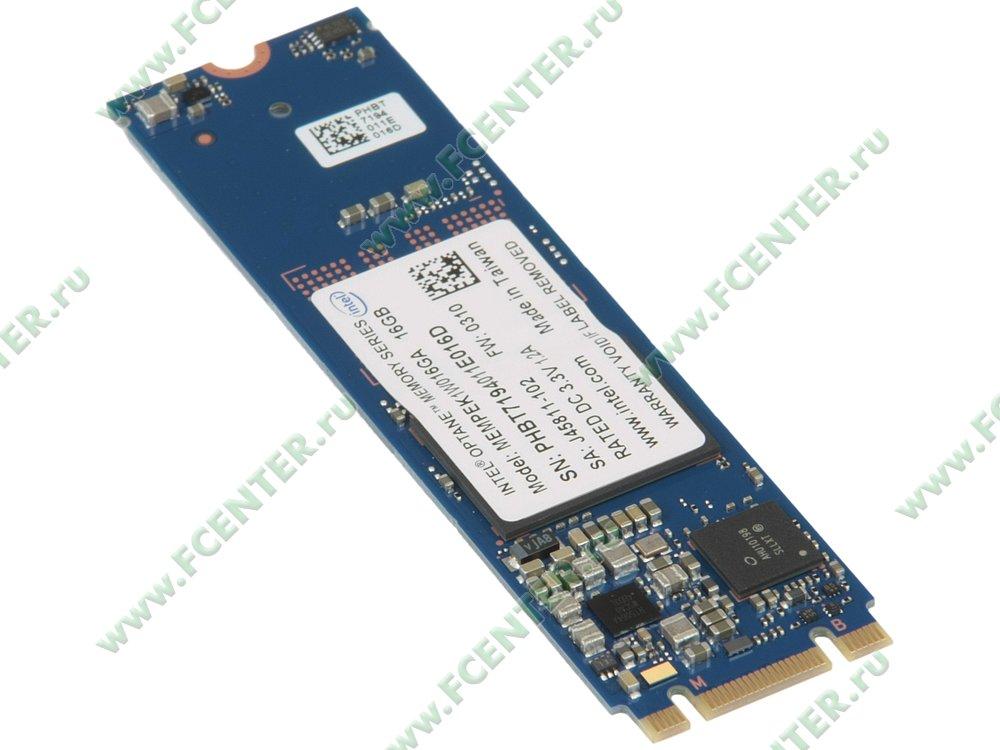"""null Модуль 16ГБ M.2 Intel """"Optane Memory"""" MEMPEK1W016GAXT (PCI-E). Вид спереди."""