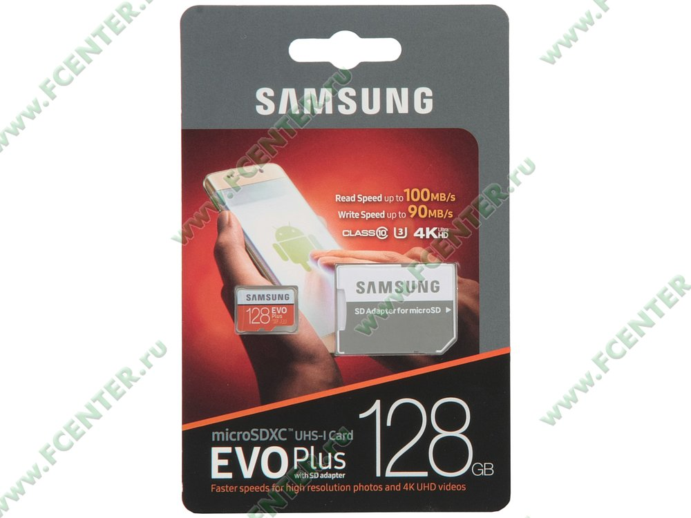 "Карта памяти 128ГБ Samsung ""EVO Plus MB-MC128GA/RU"" microSDXC UHS-I Class10. Коробка."