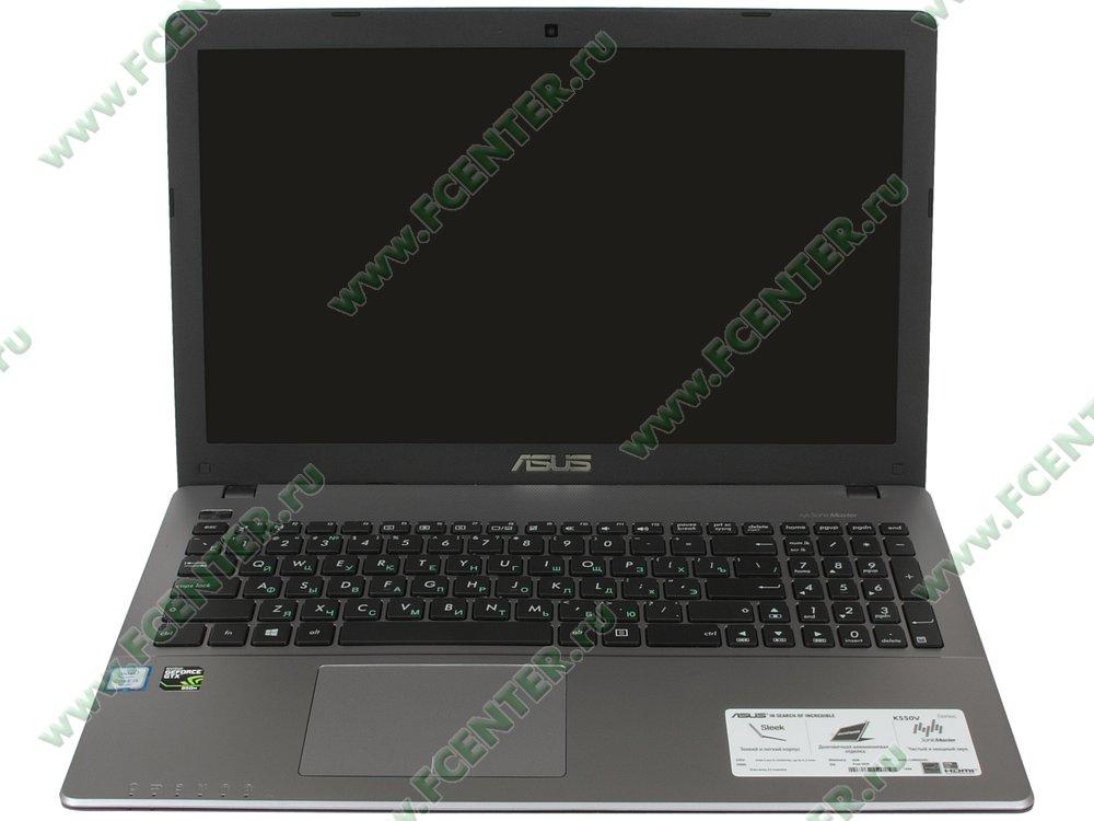 """Ноутбук ASUS """"K550VX-DM408D"""". Вид cпереди 1."""