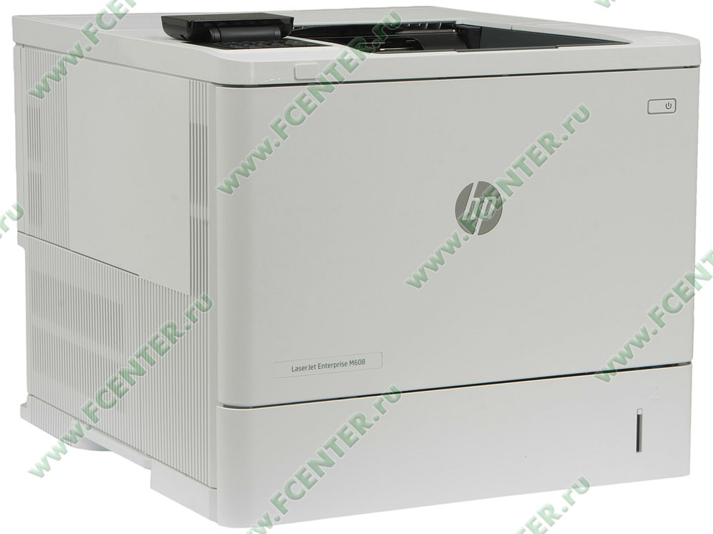 "Лазерный принтер HP ""LaserJet Enterprise M608n"" A4 (USB2.0, LAN). Вид спереди 1."