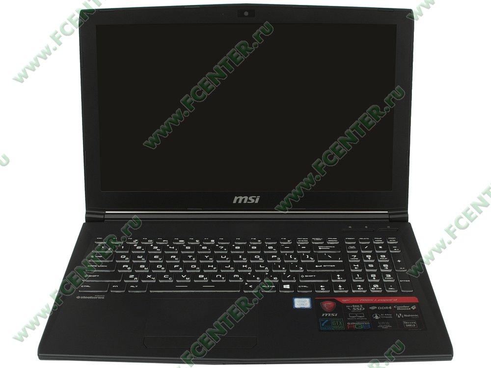 """Ноутбук MSI """"GP62M 7RDX-1659RU"""". Вид cпереди 1."""