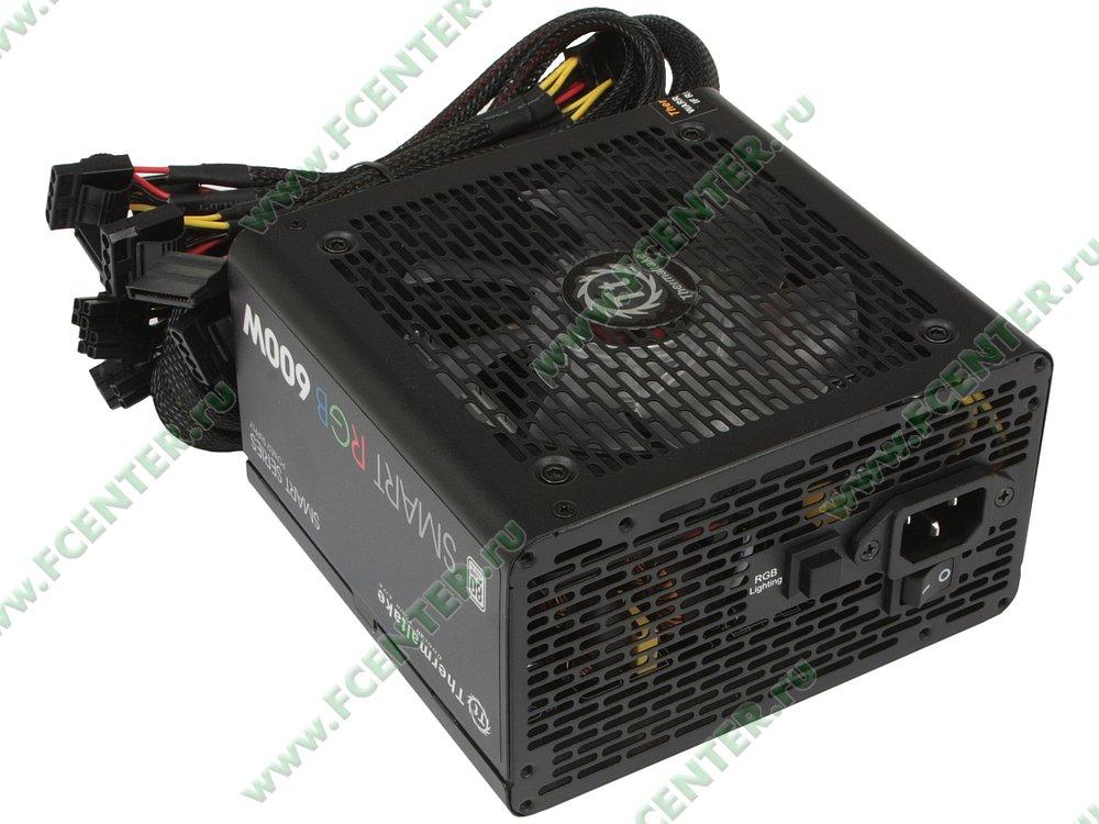 "Блок питания 600Вт Thermaltake ""Smart RGB 600W"" ATX12V V2.3. Вид спереди."