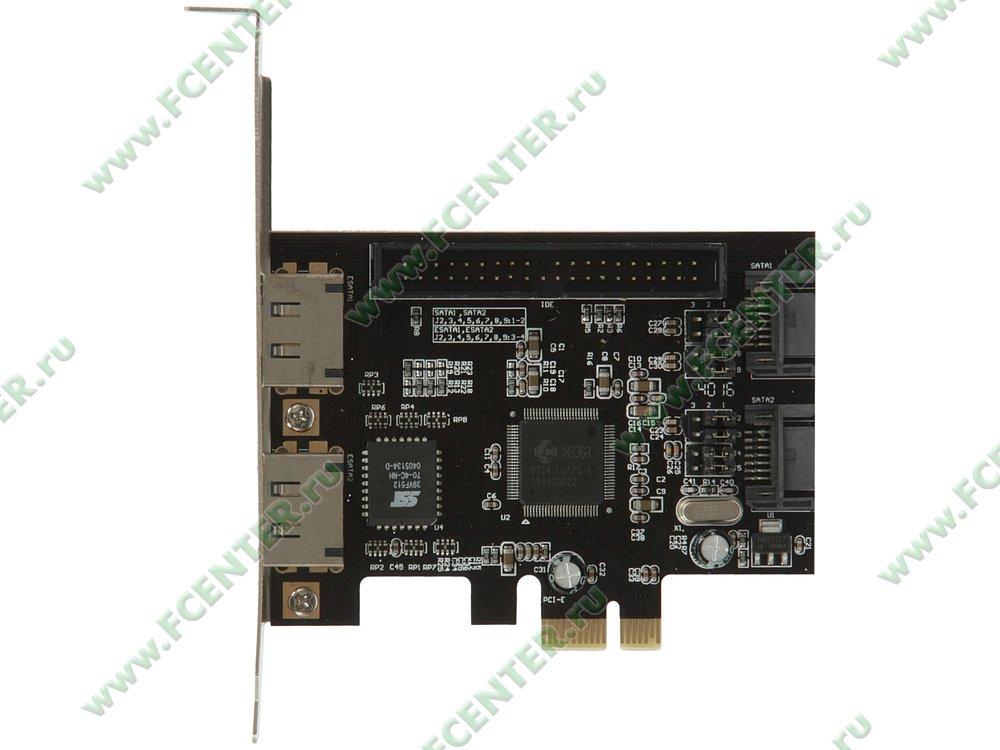 """Контроллер e-SATA + SATA II + ATA Espada """"PCIE005"""" (PCI-E x1). Вид сверху."""