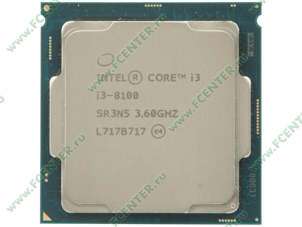 "Процессор Intel ""Core i3-8100"" Socket1151. Вид сверху."