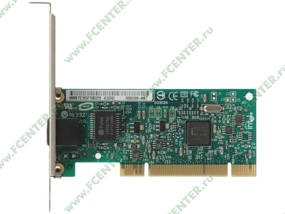 """Сетевая карта Ethernet 1Гбит/сек. Intel """"PRO/1000 GT"""" (PCI). Вид сверху."""