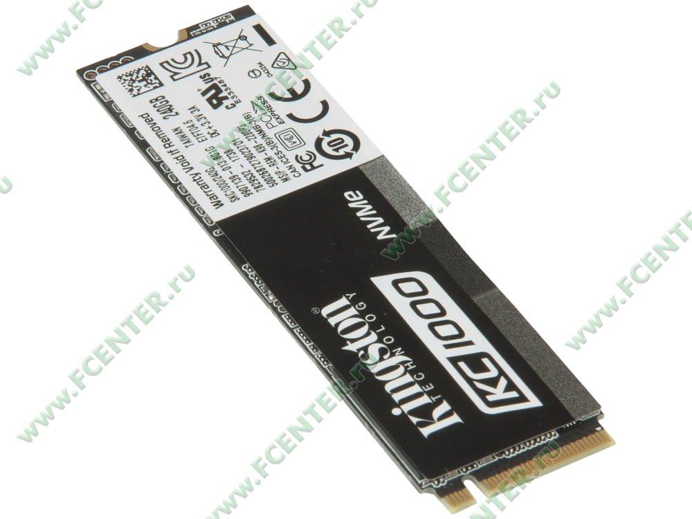 """SSD диск 240ГБ M.2 Kingston """"KC1000"""" SKC1000/240G (PCI-E). Вид спереди."""