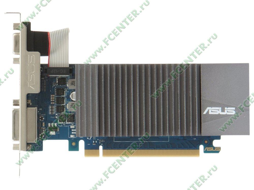 """Видеокарта ASUS """"GeForce GT 710 2ГБ"""" GT710-SL-2GD5. Вид сверху."""