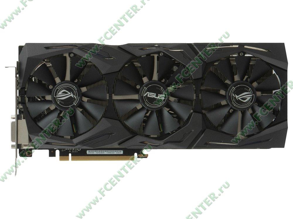 "Видеокарта ASUS ""GeForce GTX 1070 Ti 8ГБ"" ROG-STRIX-GTX1070TI-A8G-GAMING. Вид сверху."