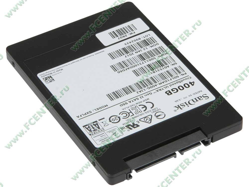 "SSD диск 400ГБ 2.5"" SanDisk ""CloudSpeed Ultra Gen II"" (SATA III). Вид спереди."