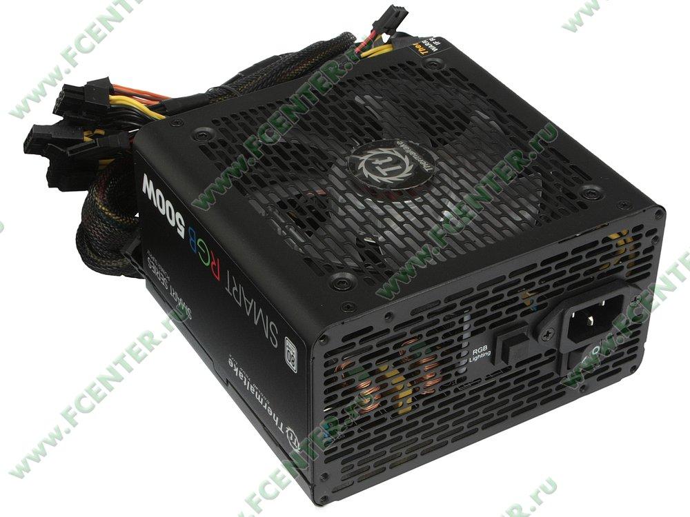 "Блок питания 500Вт Thermaltake ""Smart RGB 500W"" ATX12V V2.3. Вид спереди."