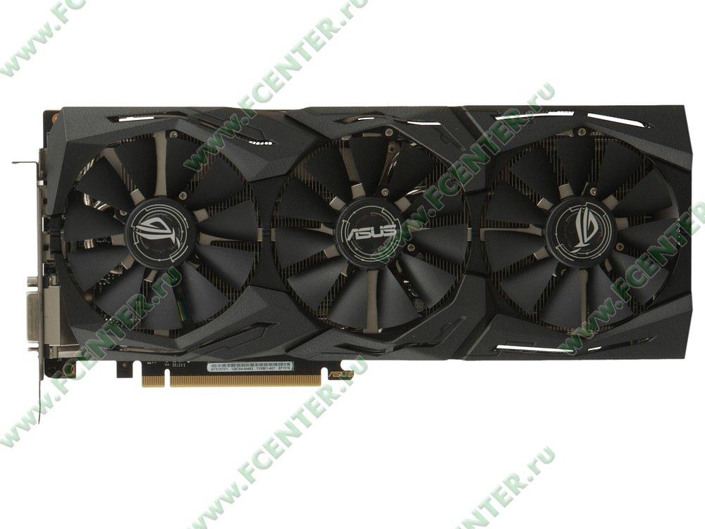 "Видеокарта ASUS ""GeForce GTX 1070 Ti 8ГБ"" ROG-STRIX-GTX1070TI-8G-GAMING. Вид сверху."