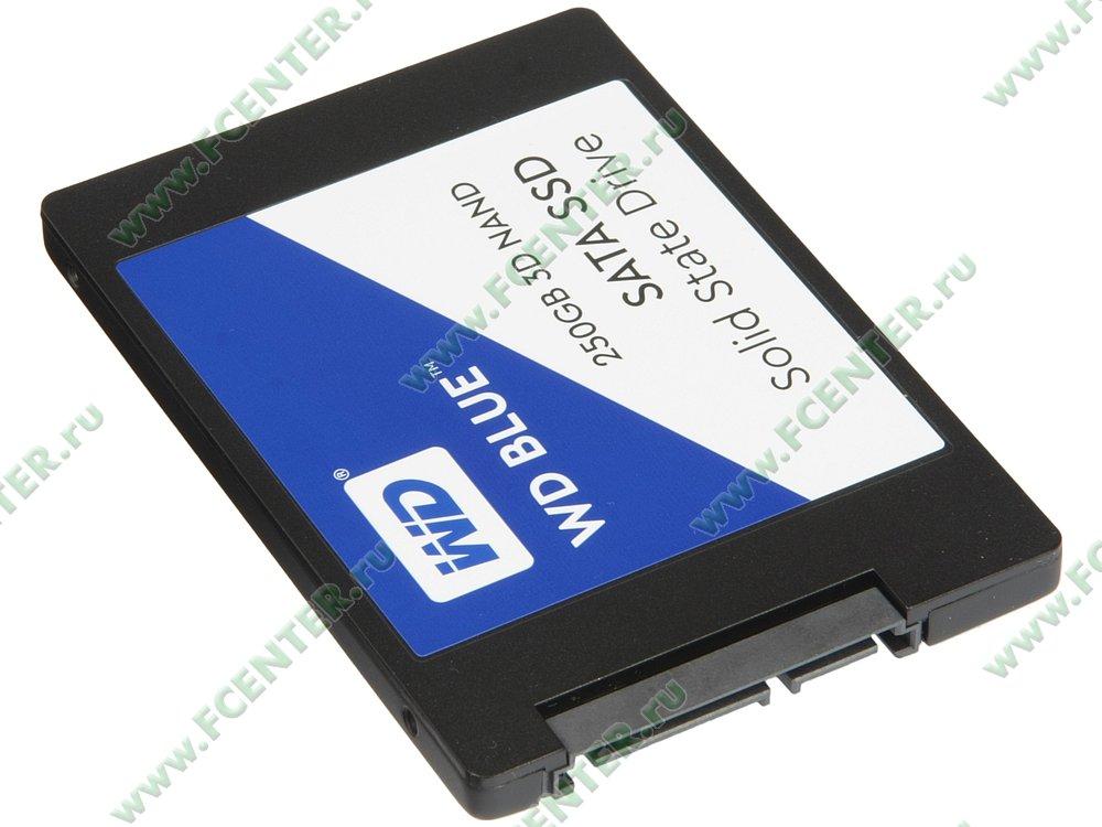"SSD диск 250ГБ 2.5"" Western Digital ""Blue"" (SATA III). Вид спереди."