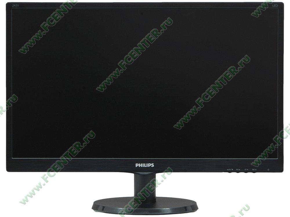 """ЖК-монитор 23.6"""" Philips """"243V5QHABA/01"""". Вид спереди."""