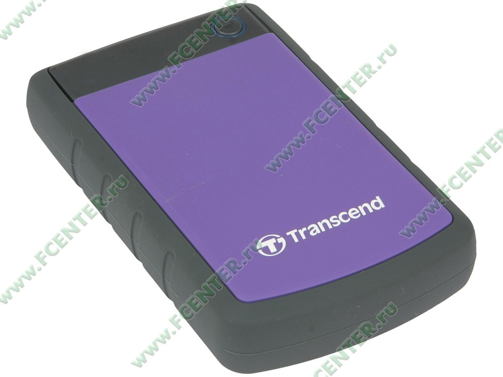 "Внешний жесткий диск Внешний жесткий диск 4ТБ 2.5"" Transcend ""StoreJet 25H3"" TS4TSJ25H3P, серо-фиолетовый . Вид спереди."
