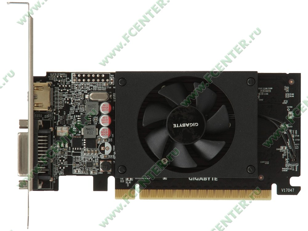 "Видеокарта GIGABYTE ""GeForce GT 710 2ГБ"" GV-N710D5-2GL. Вид сверху."