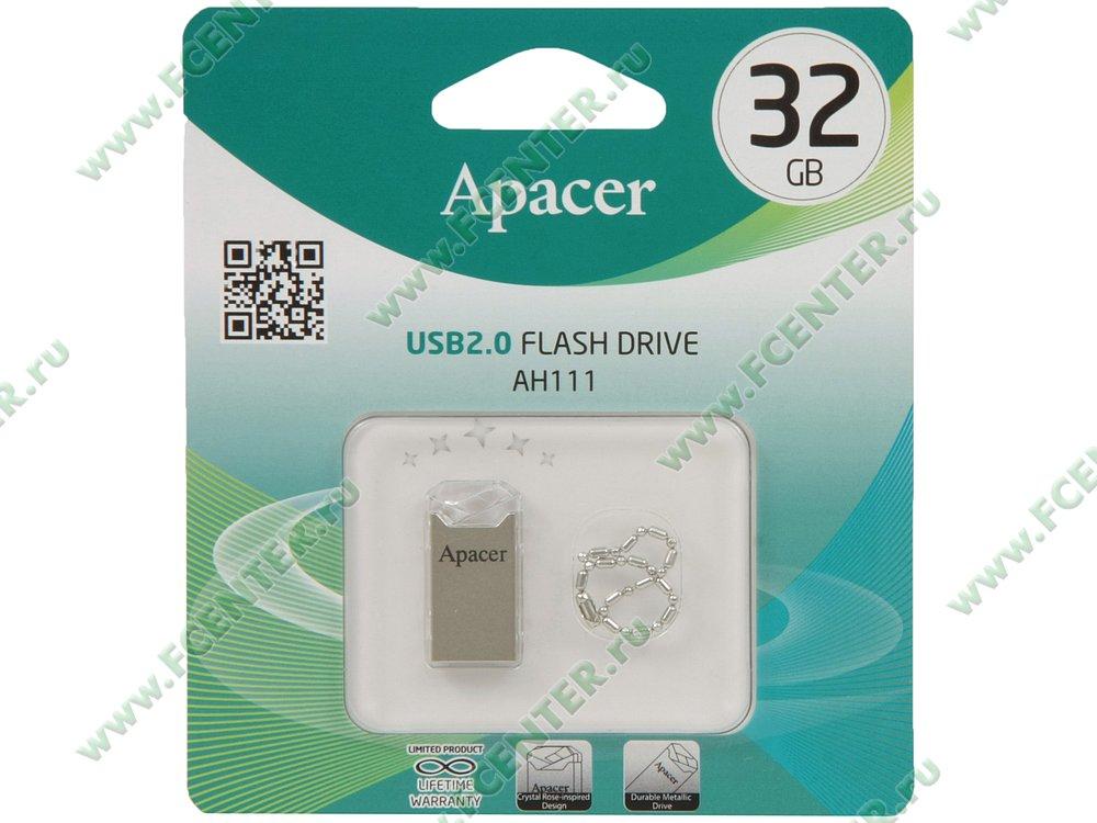 """Накопитель USB flash 32ГБ Apacer """"AH111"""" (USB2.0). Коробка 1."""