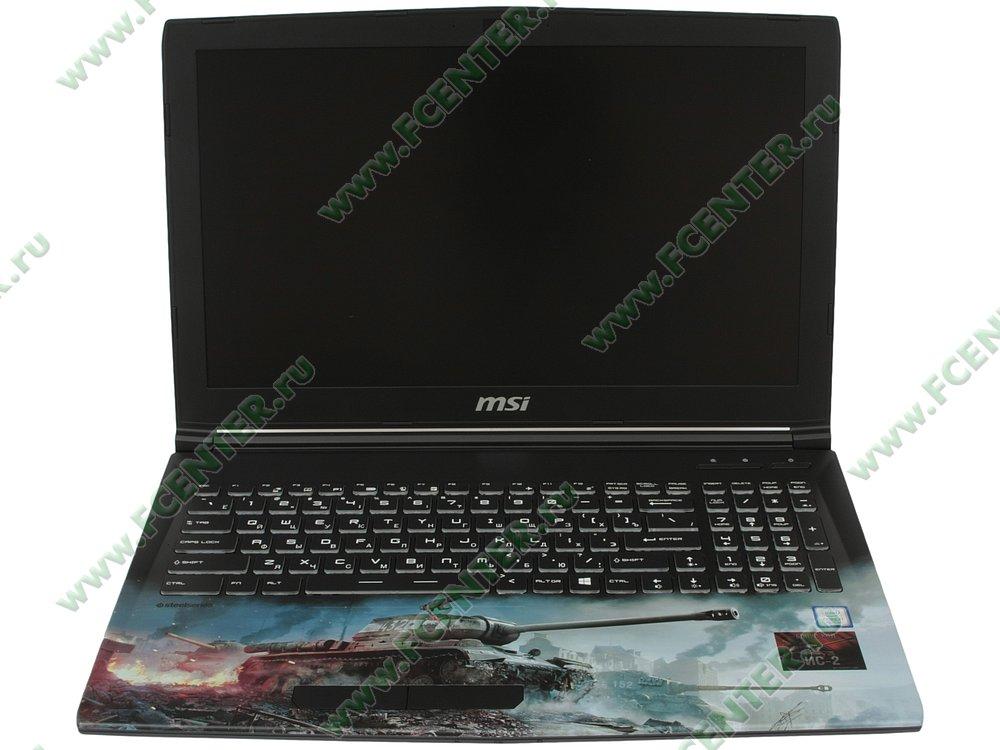 """Ноутбук MSI """"GP62M 7RDX-2097XRU"""". Вид cпереди 1."""