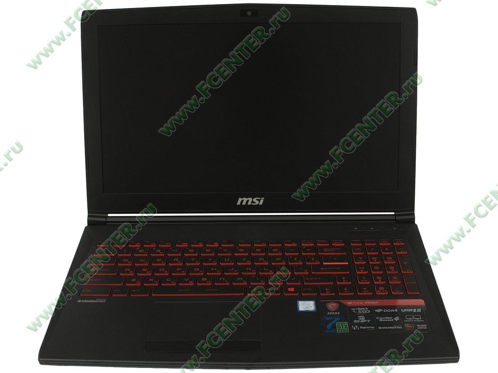 """Ноутбук MSI """"GL62M 7RDX-2099RU"""". Вид спереди 1."""