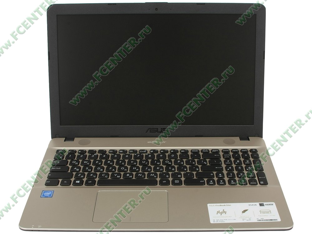 """Ноутбук ASUS """"X541NA-GQ579"""". Вид cпереди 1."""